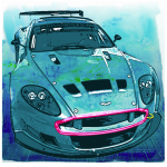 Limited Edition Aston Martin Le Mans Car Glycel Printing on Paper