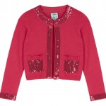 Sequin trim cotton knit cardigan